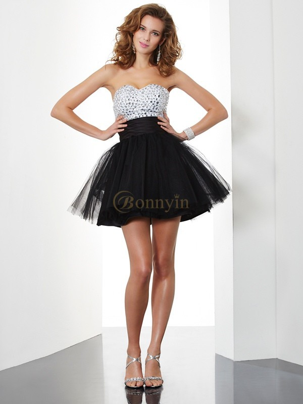 Black Organza Sweetheart A-Line/Princess Short/Mini Cocktail Dresses