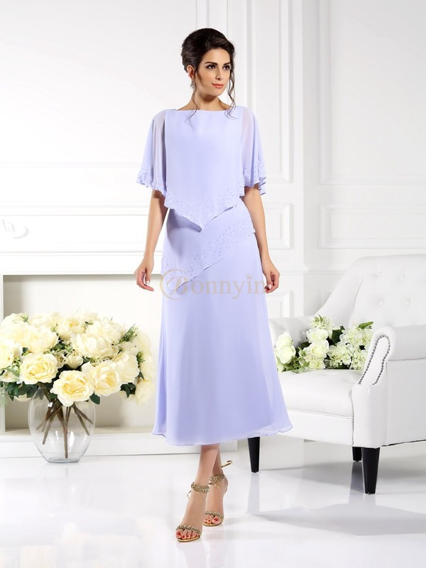 Lavender Chiffon Bateau Sheath/Column Ankle-Length Mother of the Bride Dresses