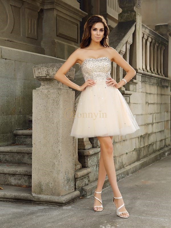 Champagne Satin Strapless A-Line/Princess Short/Mini Dresses