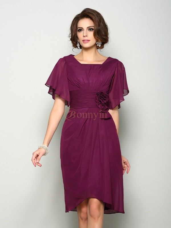 Burgundy Chiffon Square A-Line/Princess Knee-Length Mother of the Bride Dresses