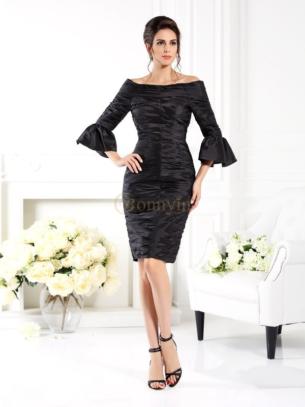 Black Taffeta Off-the-Shoulder Sheath/Column Short/Mini Mother of the Bride Dresses