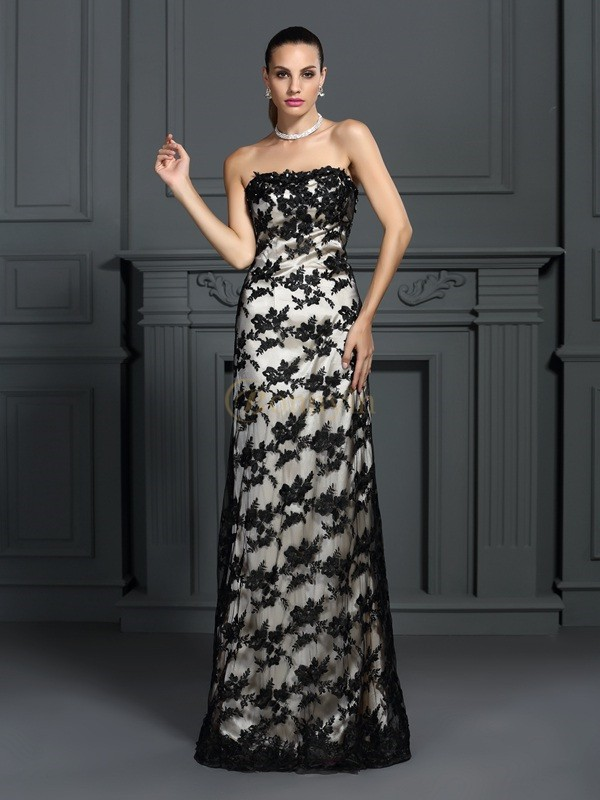Champagne Elastic Woven Satin Strapless Sheath/Column Sweep/Brush Train Dresses