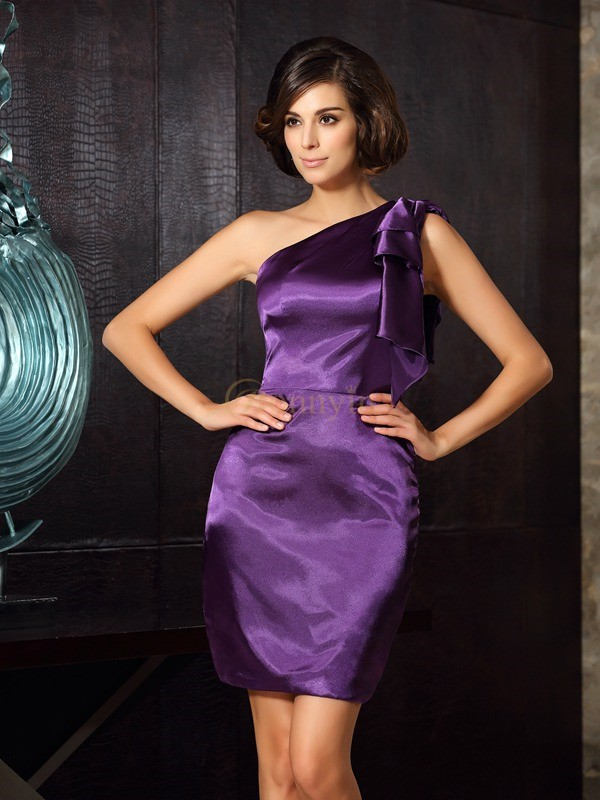 Grape Elastic Woven Satin One-Shoulder Sheath/Column Knee-Length Mother of the Bride Dresses