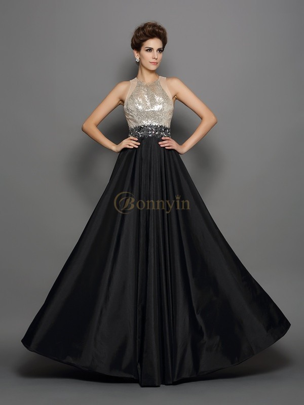 Black Taffeta High Neck A-Line/Princess Floor-Length Dresses