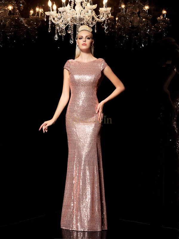 Champagne Sequins Scoop Sheath/Column Floor-Length Evening Dresses