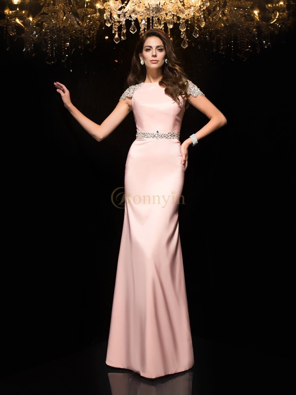 Pink Satin Jewel Sheath/Column Floor-Length Evening Dresses