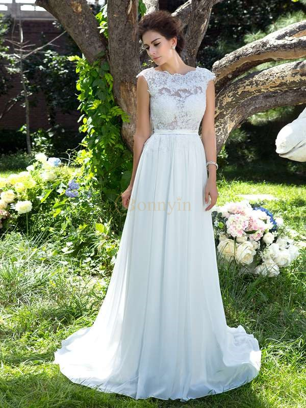 Ivory Chiffon Scoop A-Line/Princess Sweep/Brush Train Evening Dresses