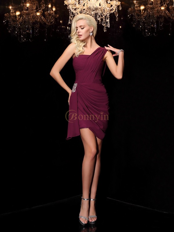Burgundy Chiffon One-Shoulder Sheath/Column Short/Mini Cocktail Dresses