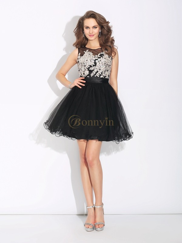 Black Net Scoop A-Line/Princess Short/Mini Cocktail Dresses
