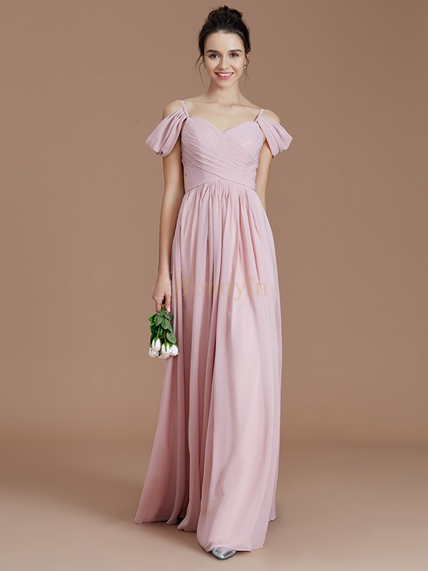 Pink Chiffon Off-the-Shoulder A-Line/Princess Floor-Length Bridesmaid Dresses