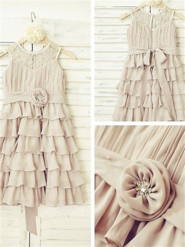 Grey Chiffon Scoop A-line/Princess Tea-Length Flower Girl Dresses