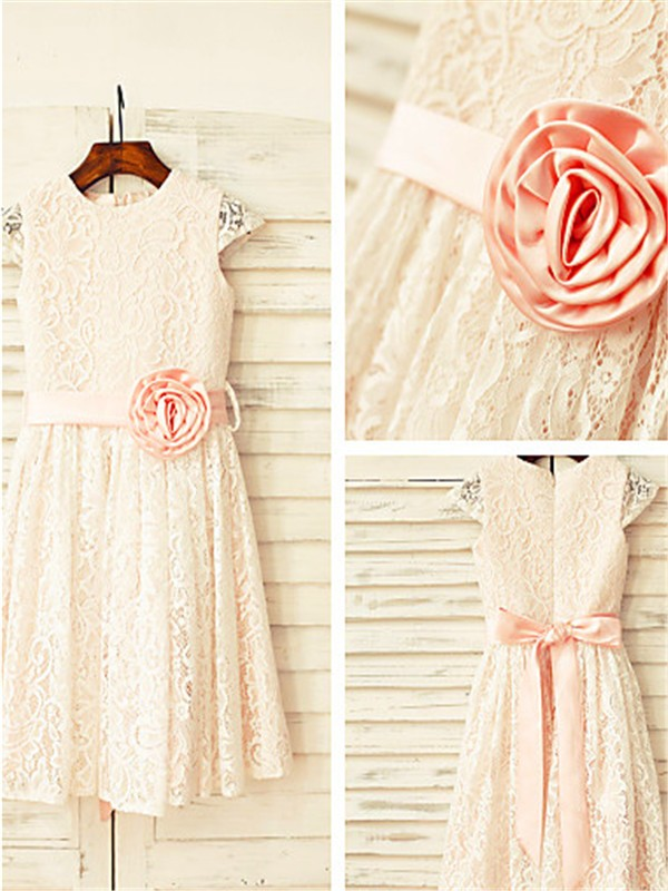Pearl Pink Lace Scoop A-line/Princess Floor-Length Flower Girl Dresses