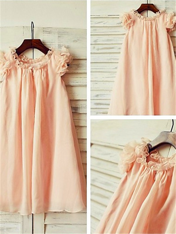 Pearl Pink Chiffon Scoop A-line/Princess Tea-Length Flower Girl Dresses