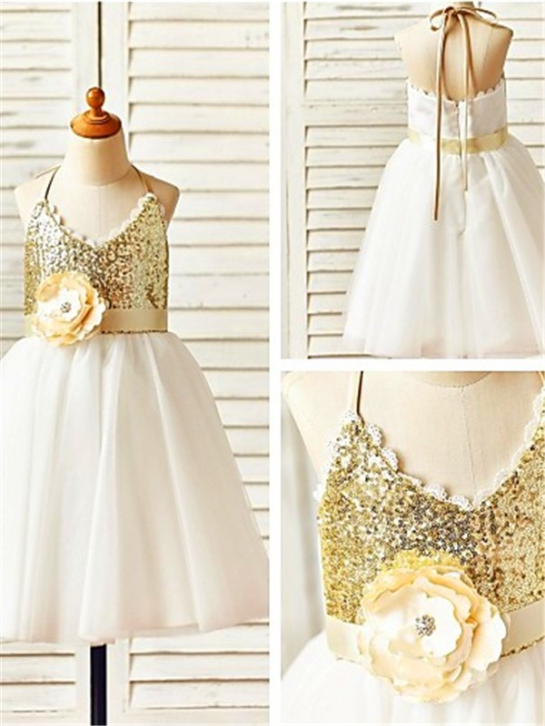Gold Tulle Halter A-line/Princess Tea-Length Flower Girl Dresses