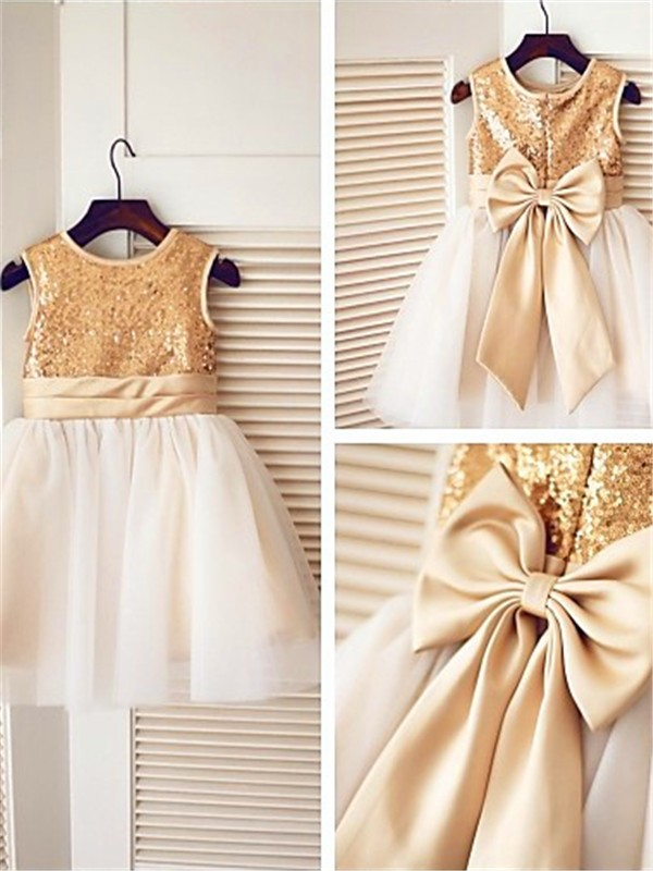 Gold Tulle Scoop A-line/Princess Knee-Length Flower Girl Dresses
