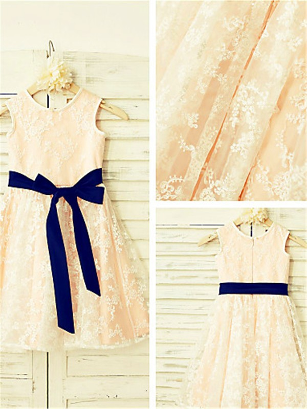Pearl Pink Lace Scoop A-line/Princess Ankle-Length Flower Girl Dresses