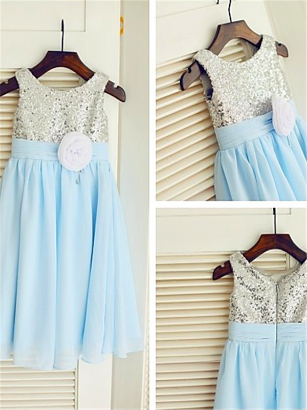 Light Sky Blue Chiffon Scoop A-line/Princess Floor-Length Flower Girl Dresses