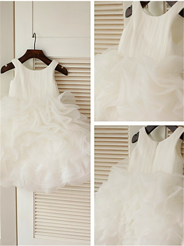 Organza Scoop Ball Gown Tea-Length Flower Girl Dresses