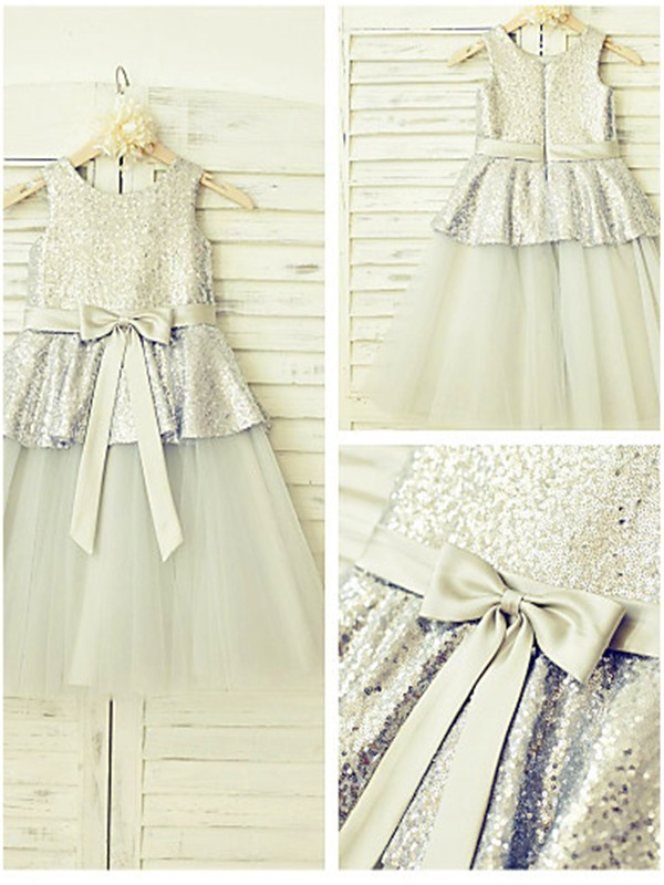 Silver Tulle Scoop A-line/Princess Floor-Length Flower Girl Dresses