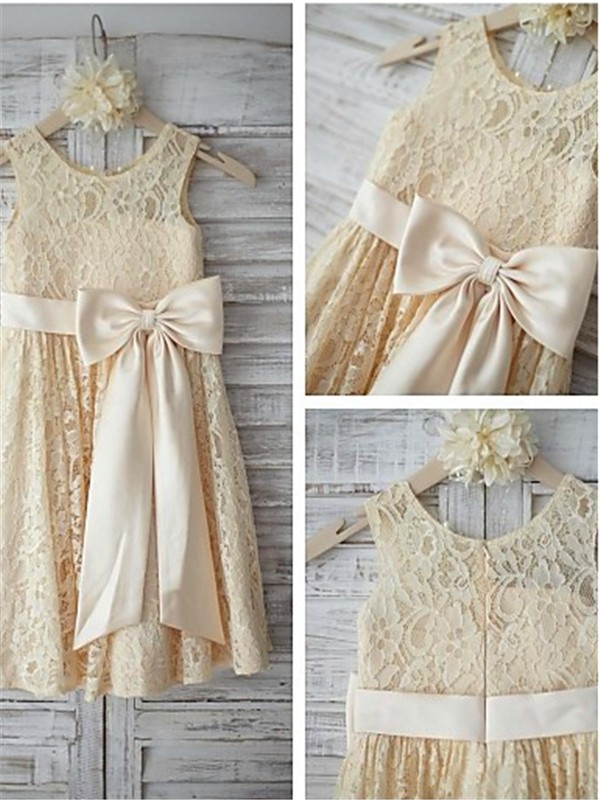 Champagne Lace Scoop A-line/Princess Knee-Length Flower Girl Dresses