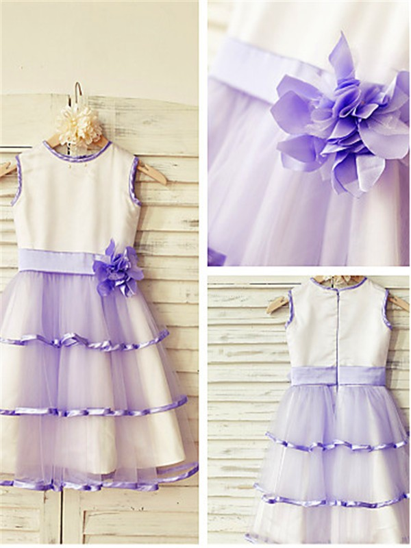 Lilac Tulle Scoop A-line/Princess Floor-Length Flower Girl Dresses