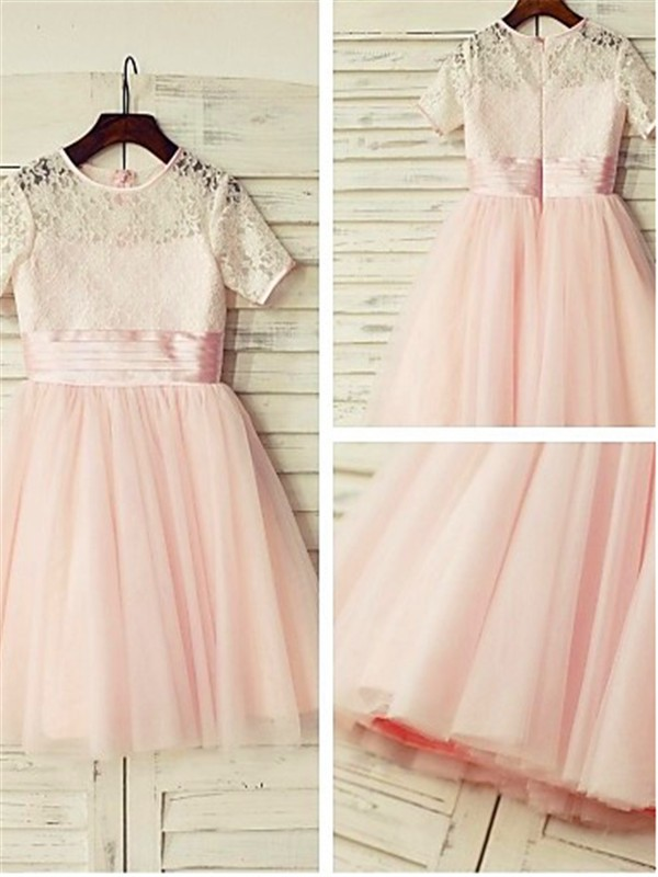 Pearl Pink Tulle Jewel A-line/Princess Tea-Length Flower Girl Dresses