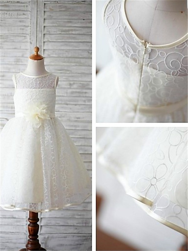 Ivory Lace Scoop Ball Gown Floor-Length Flower Girl Dresses