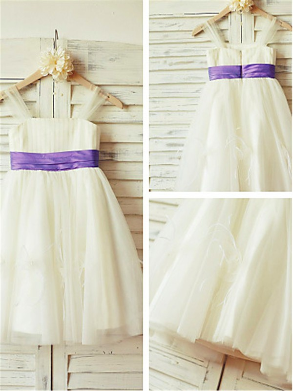 White Tulle Straps A-line/Princess Floor-Length Flower Girl Dresses