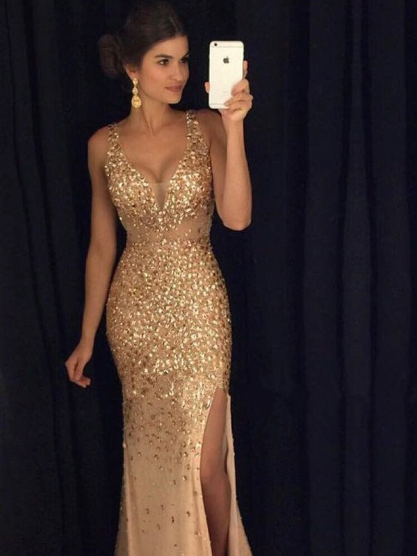 Champagne Jersey V-neck Sheath/Column Sweep/Brush Train Prom Dresses