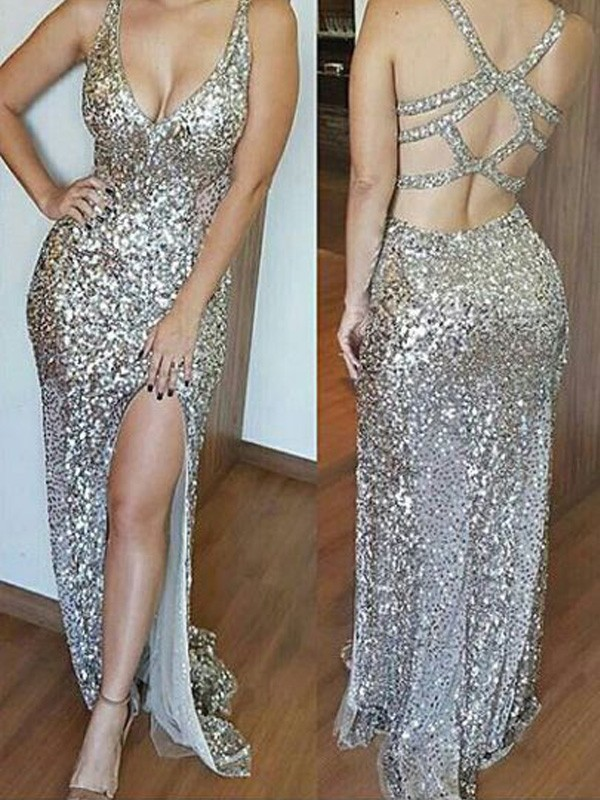 Gold Sequins V-neck Sheath/Column Sweep/Brush Train Prom Dresses
