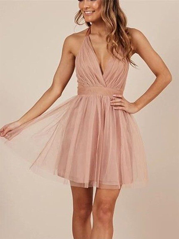 Pink Tulle Halter A-Line/Princess Short/Mini Dresses