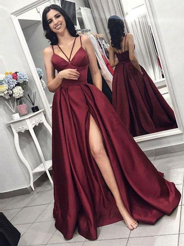 Burgundy Satin Spaghetti Straps A-Line/Princess Sweep/Brush Train Dresses