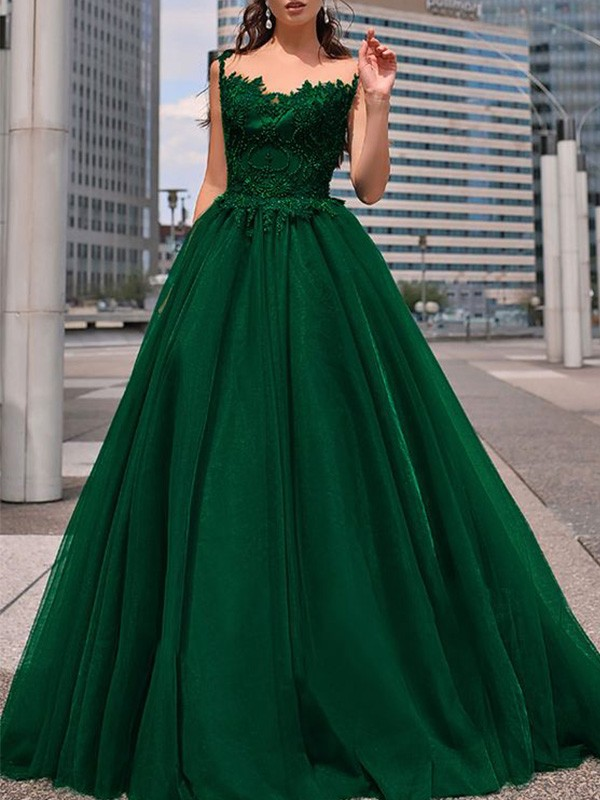 Dark Green Tulle Bateau A-Line/Princess Floor-Length Dresses