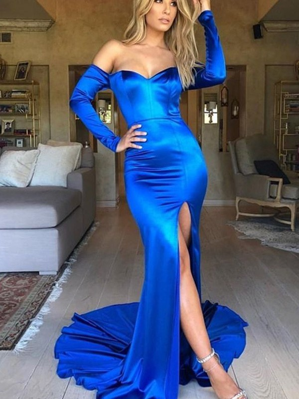 Royal Blue Satin V-neck Trumpet/Mermaid Court Train Dresses