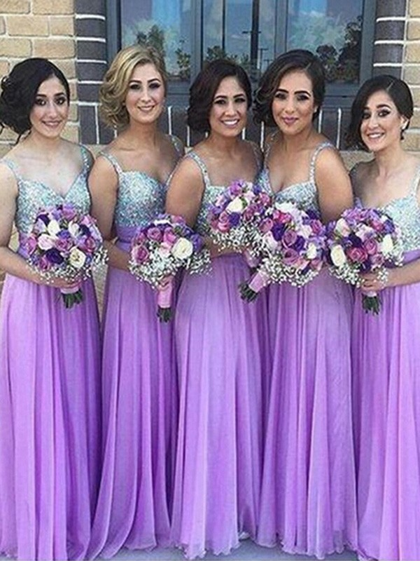Lilac Chiffon Sweetheart A-Line/Princess Floor-Length Bridesmaid Dresses