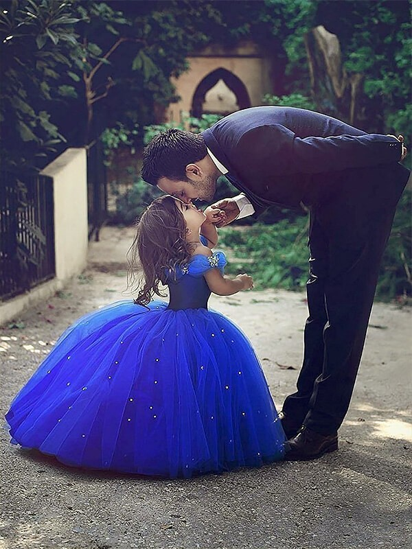 Royal Blue Tulle Off-the-Shoulder Ball Gown Floor-Length Flower Girl Dresses