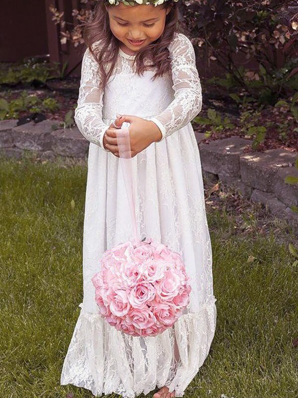Ivory Lace Jewel A-Line/Princess Floor-Length Flower Girl Dresses