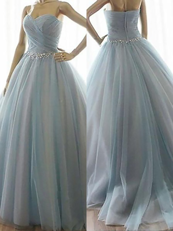 Blue Tulle Sweetheart Ball Gown Floor-Length Dresses