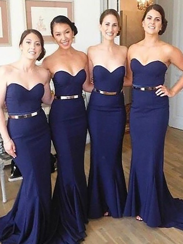 Dark Navy Satin Sweetheart Trumpet/Mermaid Sweep/Brush Train Bridesmaid Dresses