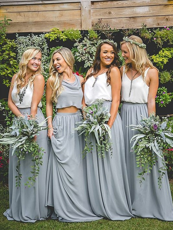 Grey Chiffon V-neck A-Line/Princess Floor-Length Bridesmaid Dresses