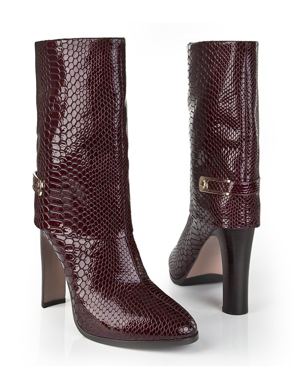 Bonnyin Burgundy Patent Leather Boots