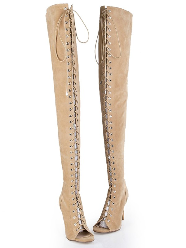 Bonnyin Suede Leather Boots With Lace Up