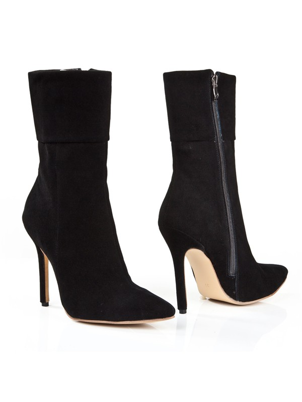Bonnyin Black Suede Pointed Toe Boots