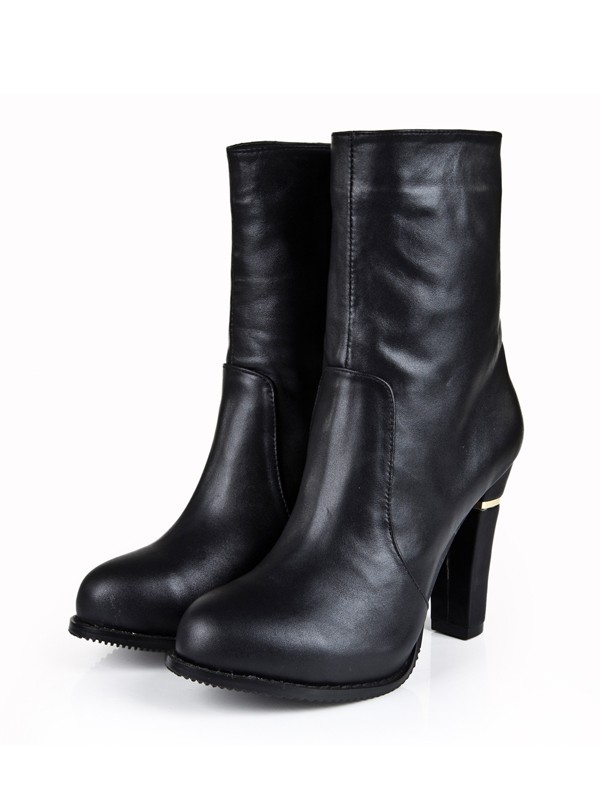 Bonnyin Black Cattlehide Leather Thick Heel Boots