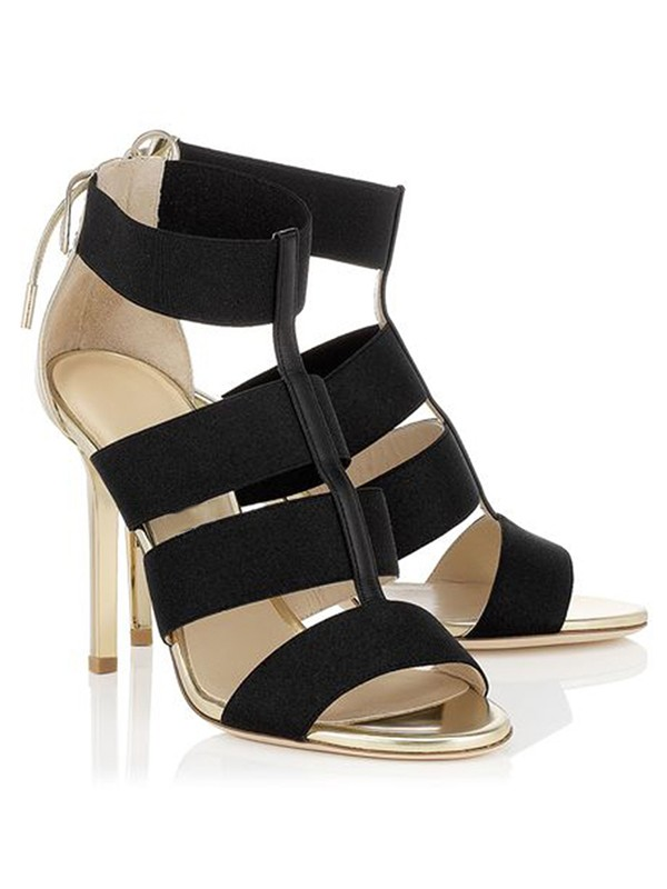 Bonnyin Black Suede High Heel Sandals