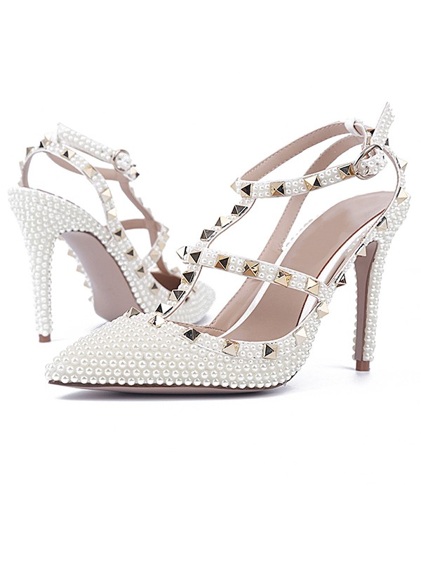 Bonnyin White Patent Leather Pearls Rivet Pointed Toe Sandals