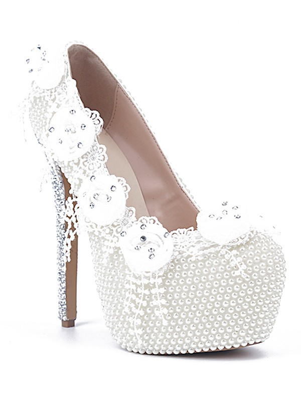 Bonnyin White Patent Leather Pearls Rose Pointed Toe High Heels