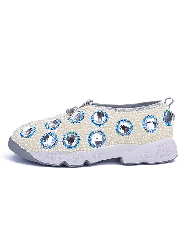Bonnyin White Patent Leather Pearls Sports Shoes