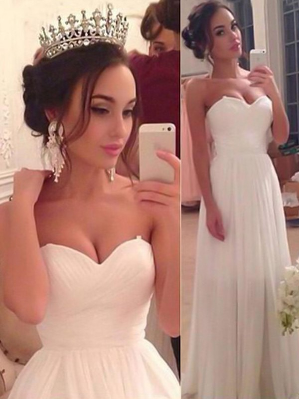 White Chiffon Sweetheart A-Line/Princess Floor-Length Wedding Dresses