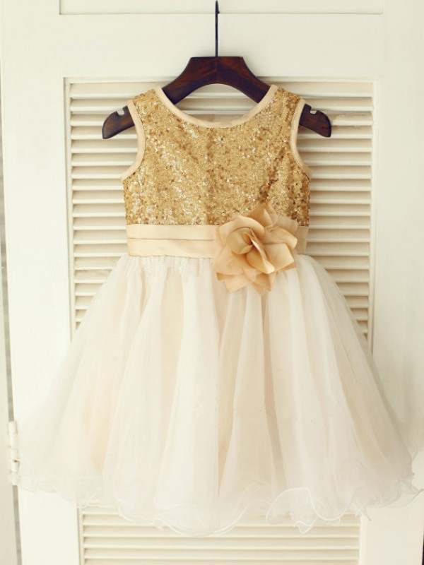 Gold Organza Scoop A-Line/Princess Tea-Length Flower Girl Dresses